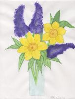Lilacs and Daffodils by SmellyCat710