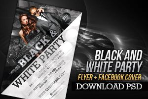 Black and White Party Flyer + Facebook Cover by LouisTwelve-Design