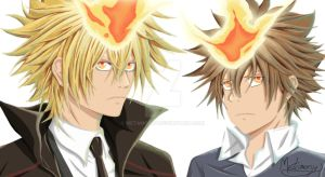 Reborn - Vongola Boss - Giotto and Tsuna by Metamorcy