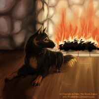 GSD next to a fireplace by WoelfinNishi