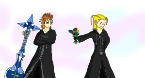 Demyx and Larxene by kittypetro