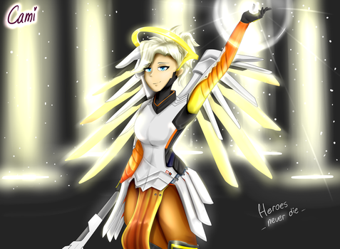 Heroes never die! - Mercy from Overwatch by CamilaAnims