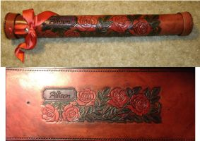 Cylindrical Leather Rose Carved Baton Case by JN-Leather