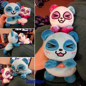 Big Blue Panda and Tiny Galaxy Panda by TheHarley