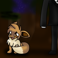 Slendy and Eevee by SkyWarriorKirby