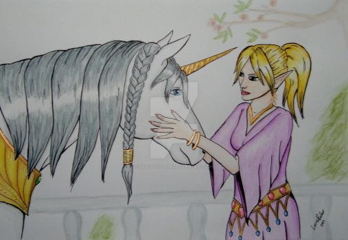 The Elf Girl and the Unicorn by dragaodepapel