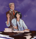 Businessmen by Moon-illusion