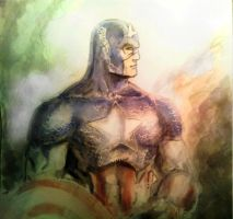 Captain America final watercolor experiment by dreamflux1