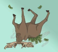 A moose rolling in a pile of money by the-foolish-princess