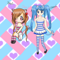 .:Striped Nekos:. by WaterBlizzard