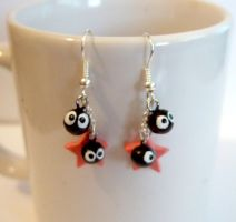 Pink stars soot earrings by yael360