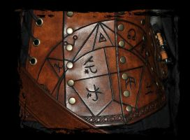 carving close up leather corset alchemist by Lagueuse