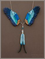 Lilac Breasted Roller Wings - Leather Necklace by windfalcon