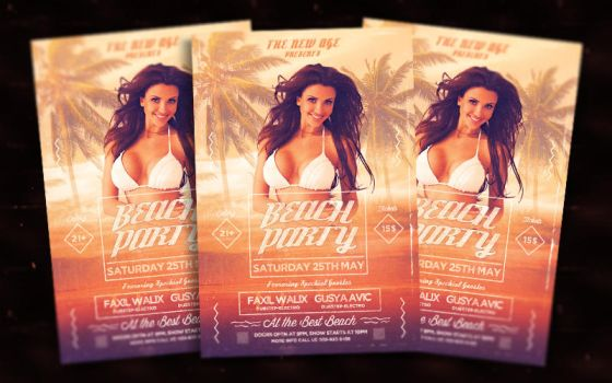 Beach Party Flyer Template by bl4ckocreation