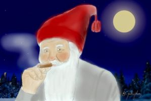 A Gnome enjoys a cigar in a cold winter night! by JonathanJohansson89