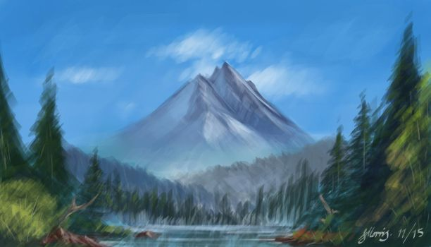 Bob Ross Inspired Landscape by OfficialJellyArt