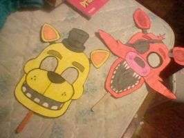 Home-Made Golden Freddy and Foxy Masks (FNAF) by MangleOfThe9thRune