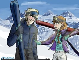 Kristoff and Anna - Skiing fun by northernwatertribe