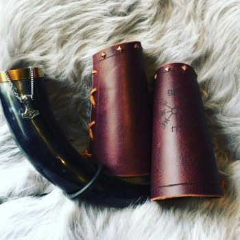 Viking leather arm guards by TheGuildedPlane