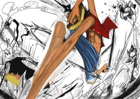 WIP 2 - Test coloring - Luffy vs Naruto Fanart by eliasuke