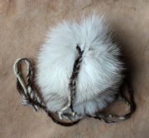 Blue Fox Fur Necklace Pouch by lupagreenwolf