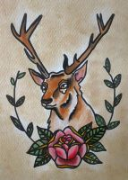 Traditional tattoo ' Deer ' by Psychoead