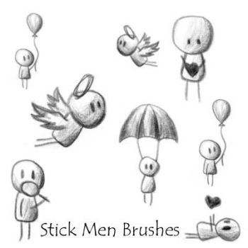Stick Men Brushes by Red--Roses