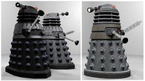 Blender Daleks WIP 3 by Librarian-bot