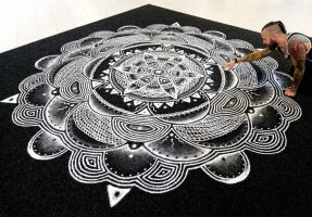 Large Salt Mandala 4X4 meters by AtomiccircuS
