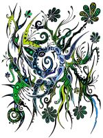 Blue and Green Flowers by Dessins-Fantastiques