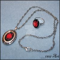Silver Rose Cameo Set by 1337-Art