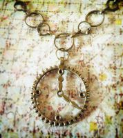 Antiqued Brass Clock Necklace by HipsterDesigns