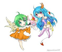 Chibi Angel and Devil by Aerite