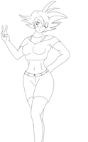 Female Goku Lineart by RBL-M1A2Tanker