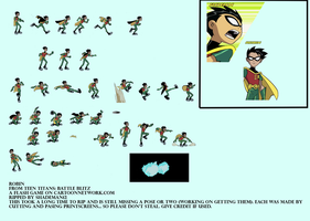 Robin Sprite Sheet from Teen Titans Battle Blitz by Xaayer
