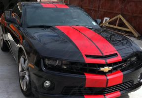 Red And Black Striped Car by ChristianSwordsman