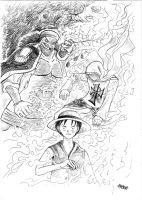Blackbeard, Pilgrim and Luffy by Ramz-y