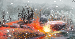Lava on the snow by firael666