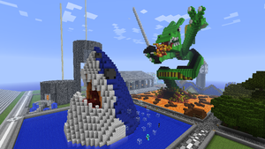 Minecraft - Shark and Dragon by Ludolik