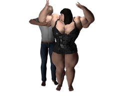 My first 3D art: He worships his muscle mistress by musclewomen