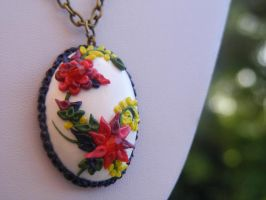 Polymer Mexico inspired Flower Pendant Necklace by cynamonspice