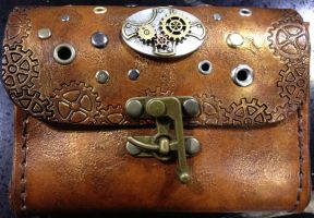 Steampunk Iphone Tooled Leather Pouch by ArmouredWolf907