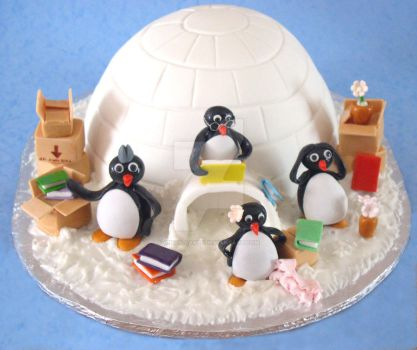 Penguin's Moving Cake by ginas-cakes