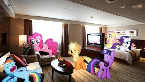 Mane 6 In A Hotel Room by Macgrubor