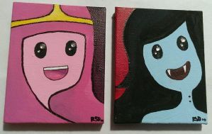 Princess Bubblegum and Marceline mini canvases by rowanSTERLINGdagaz