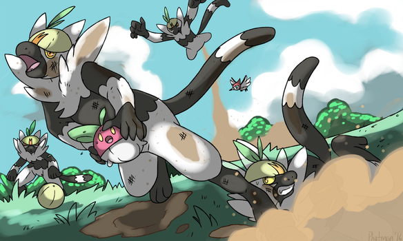 Passimian playing Pokemon Rugby by Phatmon