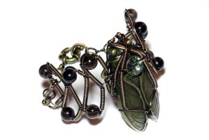 Steampunk Bracelet cicada by CatherinetteRings