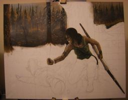 Acrylic Painting - Lara Croft #6 - WIP by CurlyWurly808
