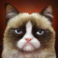 Grumpy Cat Painting by ThreshTheSky