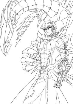 [Lineart] Kaiba And DEWD by Ycajal